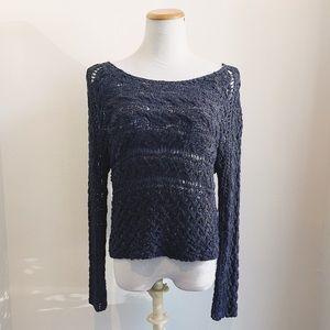 Free People Open crochet knit gray sweater